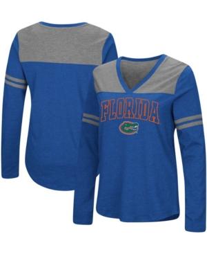 Women's Royal Florida Gators Core Heritage Arch Logo V-Neck Long Sleeve T-shirt