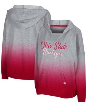 Women's Heather Gray Ohio State Buckeyes On Wednesdays Dip-Dye Pullover Hoodie