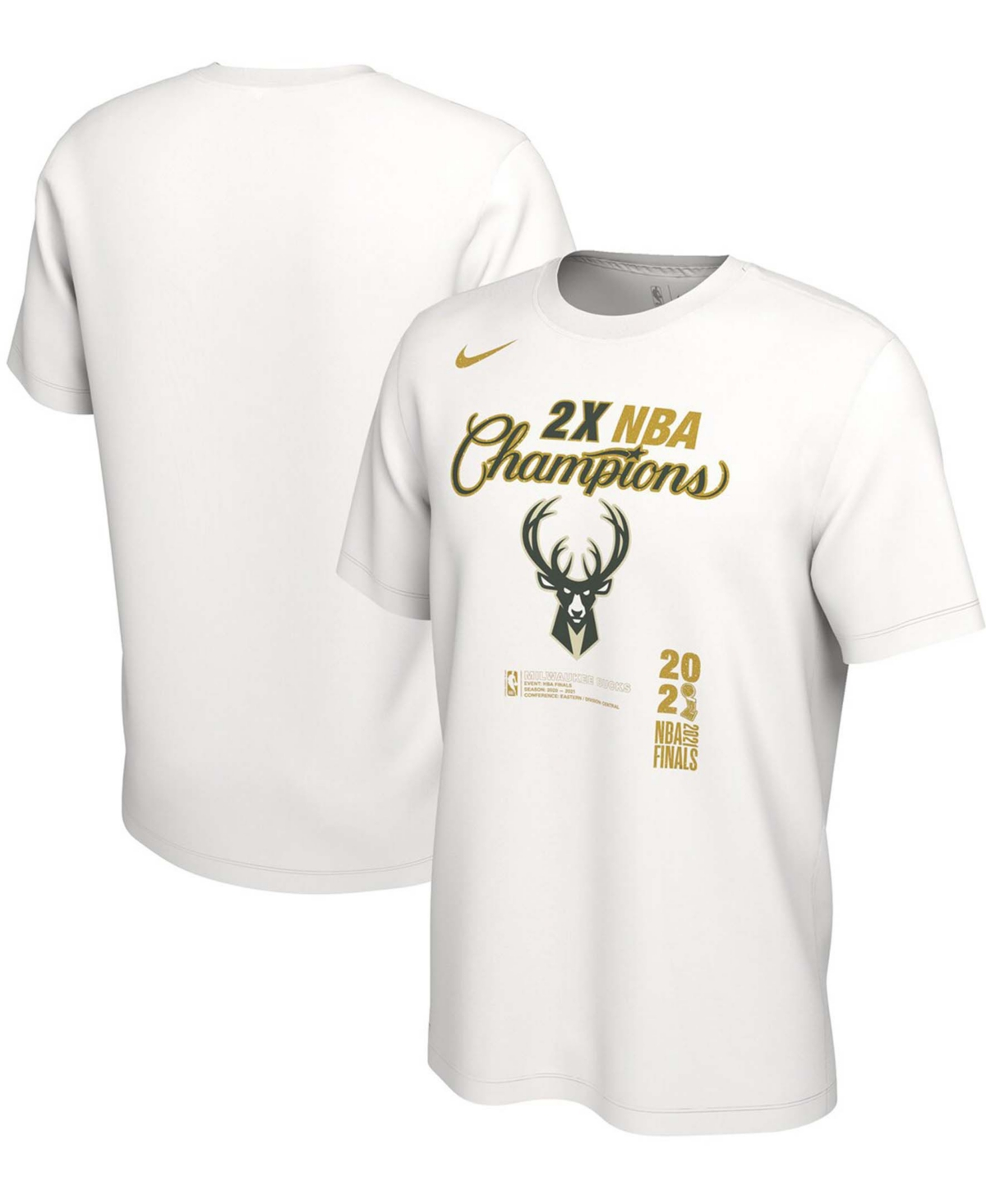 Men's White Milwaukee Bucks 2021 Nba Finals Champions Locker Room Big Tall T-shirt