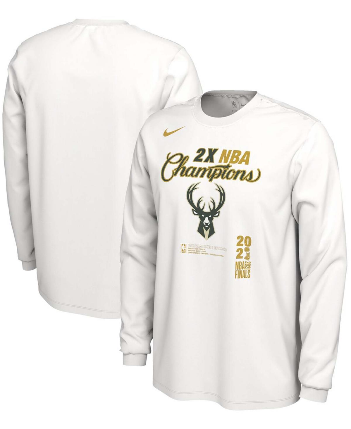 Men's White Milwaukee Bucks 2021 Nba Finals Champions Locker Room Long Sleeve T-shirt