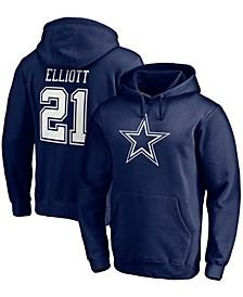 Men's Ezekiel Elliott Navy Dallas Cowboys Player Icon Name Number Pullover Hoodie