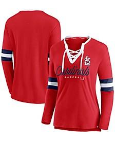 Women's Red St. Louis Cardinals Team Script Long Sleeve Lace-Up Notch Neck T-shirt
