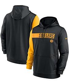 Men's Black, Gold-Tone Pittsburgh Steelers Colorblock Performance Pullover Hoodie