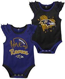 Newborn Girl's Black, Purple Baltimore Ravens Two-Pack Touchdown Bodysuit Set