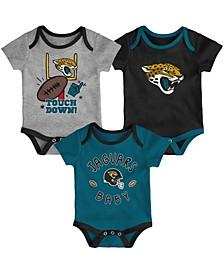 Baby Girls and Boys Black, Teal, Heathered Gray Jacksonville Jaguars Champ Bodysuit Set, 3 Pack