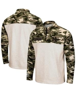 Men's Oatmeal Nebraska Huskers Oht Military-Inspired Appreciation Desert Camo Quarter-Zip Pullover Jacket