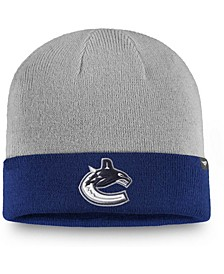 Men's Gray, Blue Vancouver Canucks Two-Tone Cuffed Knit Hat