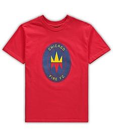 Preschool Big Boys and Girls Red Chicago Fire Primary Logo T-Shirt