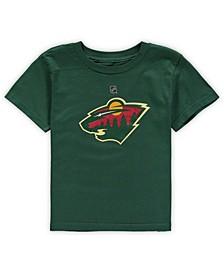 Preschool Big Boys and Girls Green Minnesota Wild Primary Logo T-Shirt