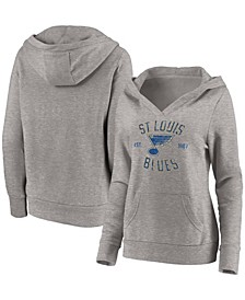 Plus Size Heathered Gray St. Louis Blues Heritage Pullover Hoodie