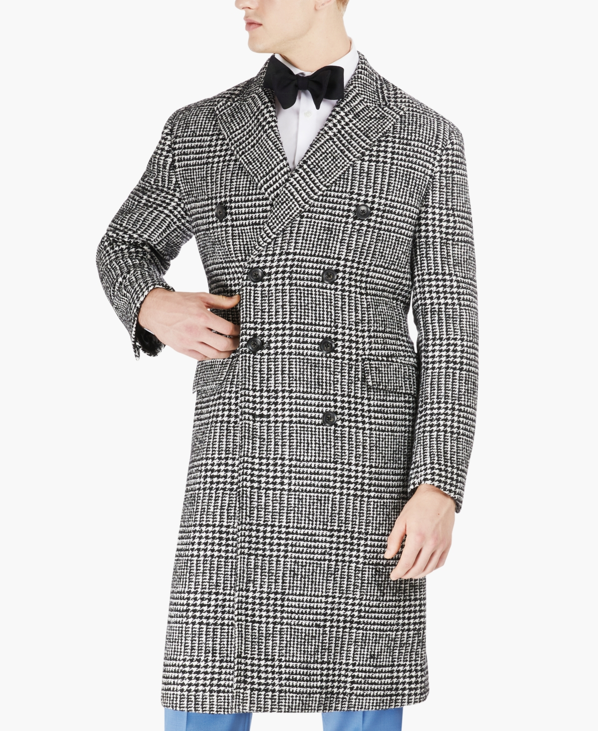 1960s Men's Clothing Tayion Collection Mens Classic Double-Breasted Glen Plaid Overcoat $495.00 AT vintagedancer.com