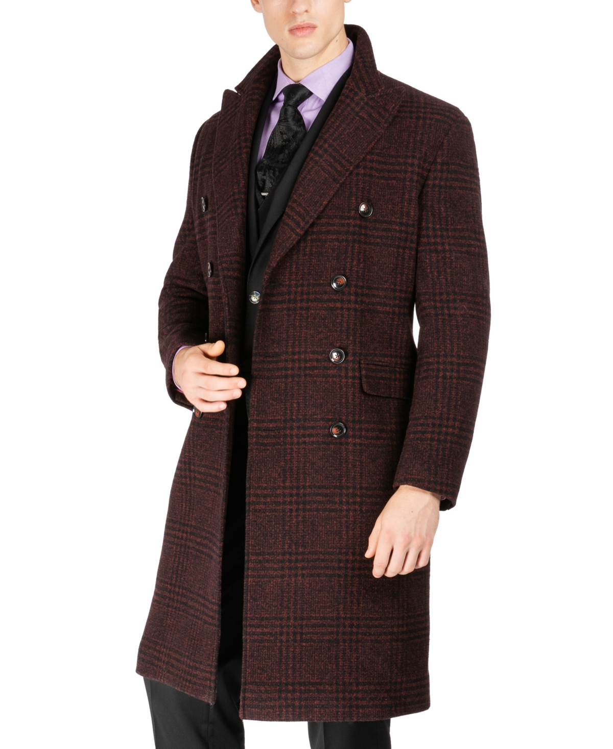 1920s Men's Style Clothing Tayion Collection Mens Classic Double-Breasted Glen Plaid Overcoat $495.00 AT vintagedancer.com