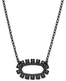 "Gunmetal-Tone Gemstone Open Frame 18"" Adjustable Pendant Necklace"