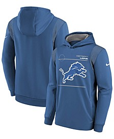 Youth Boys and Girls Blue Detroit Lions Logo Performance Pullover Hoodie