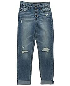 Big Girls Expose Snap Destructed Roll Cuff Hi Rise Girlfriend Jeans