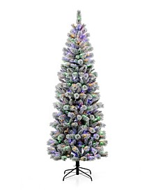 Pre-Lit Flocked Pencil Pine Artificial Christmas Tree with 300 Warm White-Multi-Color Lights, 7.5'