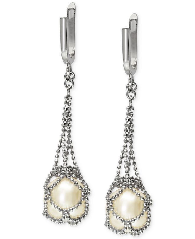 EFFY Collection Pearl Lace by EFFY® Cultured Freshwater Pearl Cage Drop Earrings in Sterling Silver (10mm)