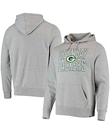 Men's Heathered Gray Green Bay Packers Bevel Pullover Hoodie