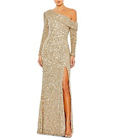 One-Shoulder Sequinned Sheath Gown