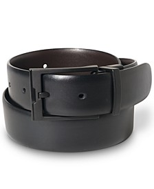 Portfolio Men's Big & Tall Matte Black Reversible Buckle Leather Belt