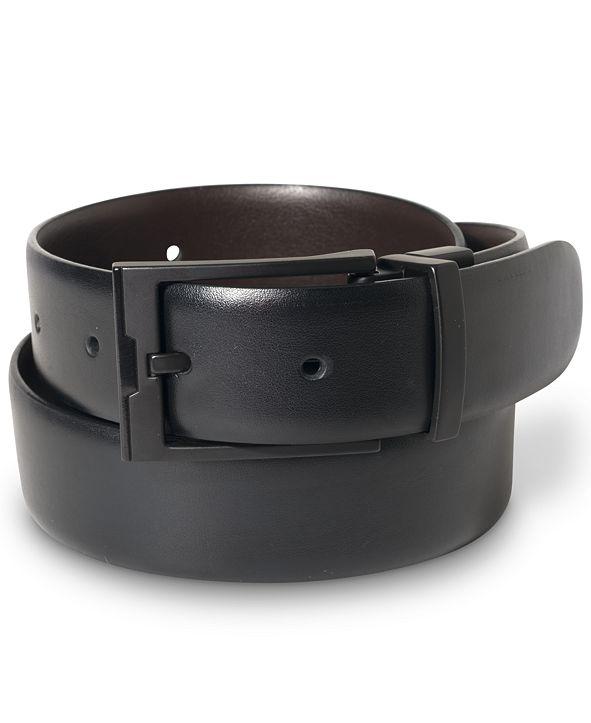 Perry Ellis Portfolio Men's Matte Black Reversible Buckle Leather Belt