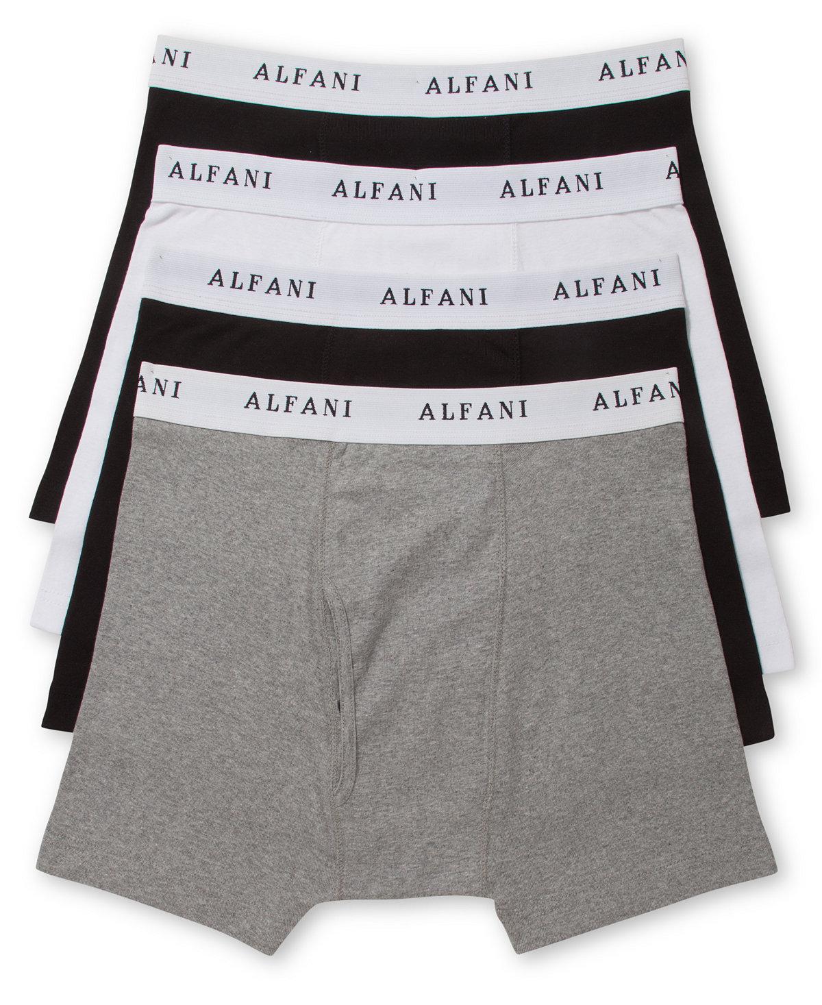 4 Pack Alfani Mens Cotton Boxer Briefs