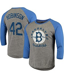Men's Jackie Robinson Brooklyn Dodgers Cooperstown Collection Name Number Tri-Blend 3/4 Sleeve T-shirt - Gray, Royal