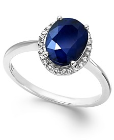Sapphire and White Sapphire Oval Ring in 10k White Gold (2-1/4 ct. t.w.), Created for Macy's