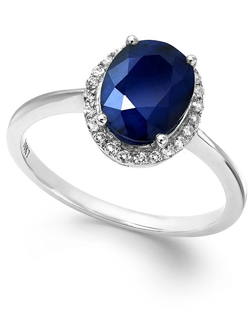 Macy's Sapphire and White Sapphire Oval Ring in 10k White Gold (2-1/4 ct. t.w.), Created for Macy's