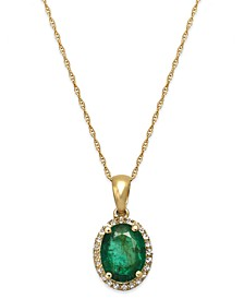 Emerald and White Sapphire Oval Pendant Necklace in 10k Gold (2 ct. t.w.), Created for Macy's