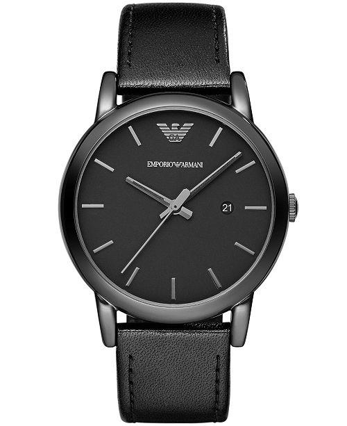 eea96414c2f Emporio Armani Men s Black Leather Strap Watch 41mm AR1732 - Watches ...