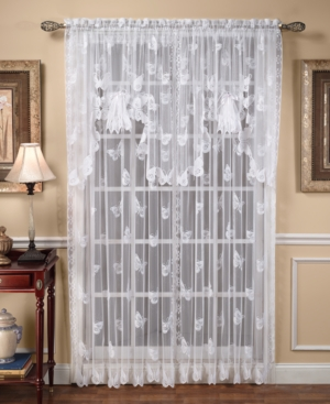 """Closeout! Saturday Knight Sheer Butterflies Lace 56"""" x 84"""" P"""