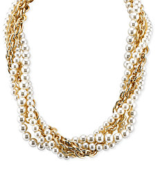 2028 Gold-Tone Imitation Pearl and Chain Torsade Necklace