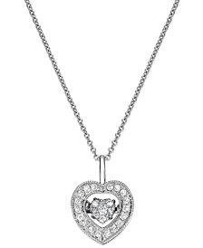 Twinkling Diamond Star™ Diamond Heart Pendant Necklace in 14k White Gold (1/4 ct. t.w.)