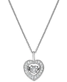 Twinkling Diamond Star™ Diamond Heart Pendant Necklace in 14k White Gold (1/4 ct. t.w.)
