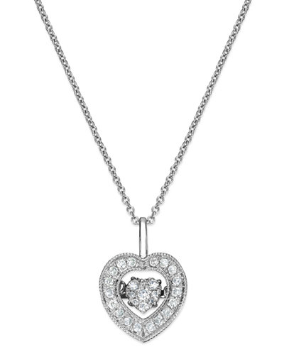 Twinkling diamond star diamond heart pendant necklace in 14k white twinkling diamond star diamond heart pendant necklace in 14k white gold 14 aloadofball Image collections
