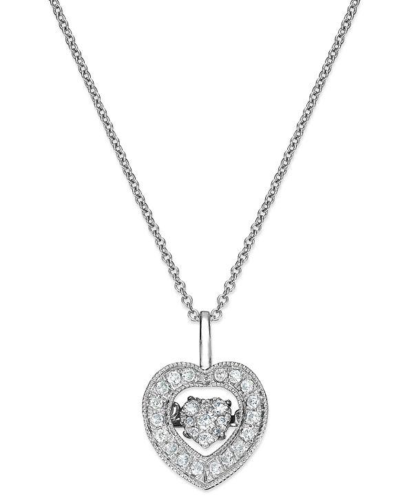 Twinkling Diamond Star Diamond Heart Pendant Necklace in 14k White Gold (1/4 ct. t.w.)
