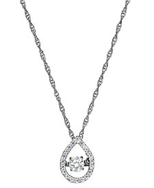 Twinkling Diamond Star™ Diamond Open Teardrop Pendant Necklace in 10k White Gold (1/4 ct. t.w.)