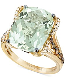 Mint Julep Quartz (9-3/4 ct. t.w.), White Diamond (1/8 ct. t.w.) and Chocolate Diamond (3/8 ct. t.w.) Ring in 14k Gold, Created for Macy's