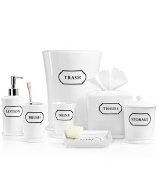 Martha Stewart Collection Porcelain Words Frame Bath Accessories  Collection, Created For Macyu0027s