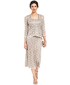 R&M Richards Sequined Lace Sheath Dress and Jacket