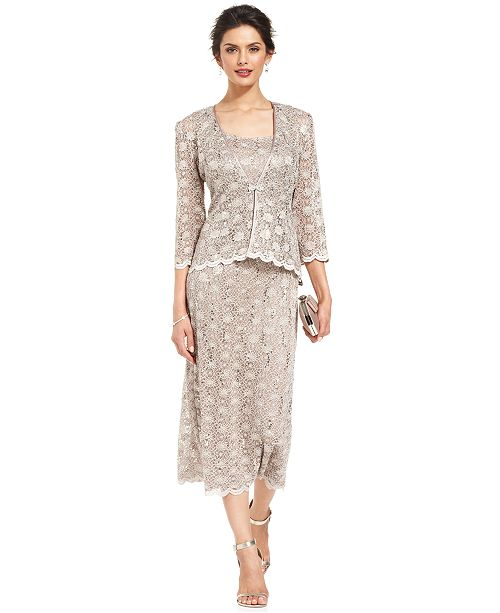 971715d7ab ... R   M Richards R M Richards Sequined Lace Sheath Dress and Jacket ...