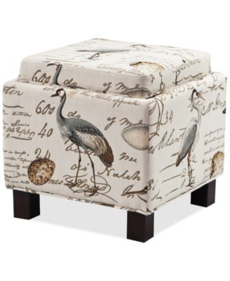 Kylee Fabric Accent Storage Ottoman with Pillows, Quick Ship