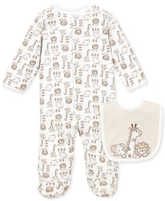 Baby Boys Footed Coverall & Bib Set