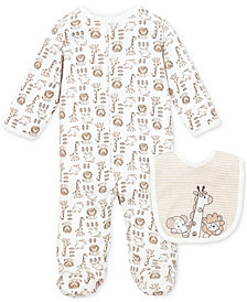 Little Me Baby Boys Footed Coverall & Bib Set
