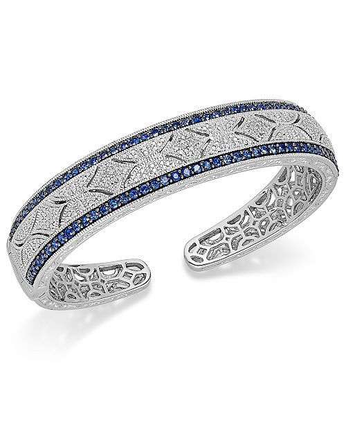 Macy's Sapphire (2-3/8 ct. t.w.) and Diamond (1/10 ct. t.w.) Antique Cuff Bracelet in Sterling Silver