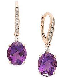 Amethyst (4-1/10 ct. t.w.) and Diamond Accent Oval Drop Earrings in 14k Rose Gold