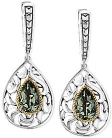 Balissima by EFFY® Green Quartz Pear Drop Earrings in Sterling Silver and 18k Gold (2-1/3 ct. t.w.)