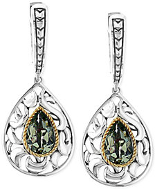 Balissima by EFFY Green Amethyst Pear Drop Earrings in Sterling Silver and 18k Gold (2-1/3 ct. t.w.)