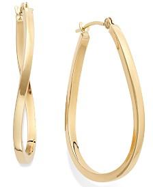 Twist Hoop Earrings in 10k Gold